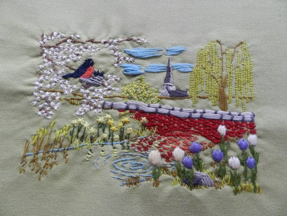 RESERVED Spring Season Landscape Crewel Embroidery with robins baby birds daffodils willow tree stream unframed