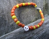 Candy Corn Skull Bead Necklace