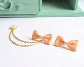 Peach Bow Gold Double Chain Ear Cuff Earrings (Pair)