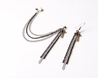 Black and Silver Chains with Cross Cuff Earrings (Pair)