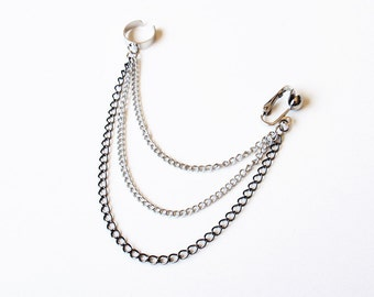 Triple Chain Clip On Ear Cuff (Single-Side)