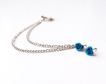Blue Rose Ear Cuff Earrings (Pair)