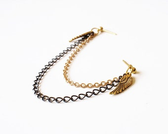 Gold Angel Wings and Black Chain Double Pierce Cartilage Earring (Single-Side)