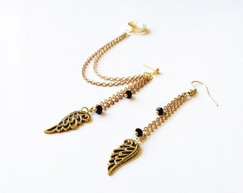 Gold Angel Wings and Brass Chains Cuff Earrings (Pair)