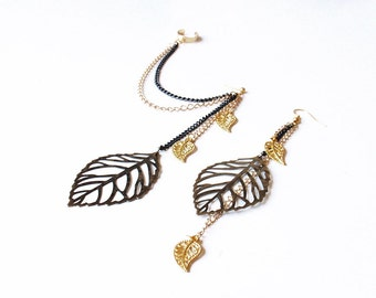 Bronze and Gold Autumn Leaves Ear Cuff (Pair)