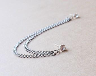 Silver Crystal Stud Double Pierce Earring (Single-Side)