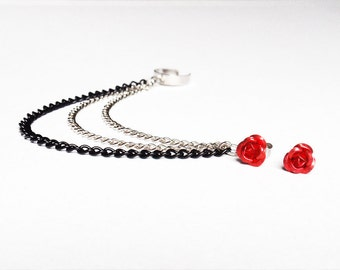 Red Rose Triple Chain Ear Cuff (Pair)