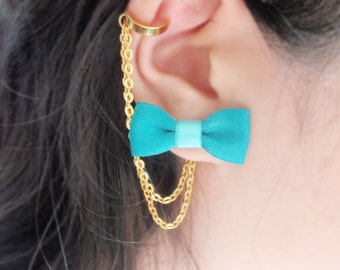 Aquamarine Bow Gold Chain Ear Cuff Earrings (Pair)
