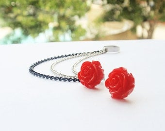 Cheery Red Rose Bloom Triple Chain Ear Cuff (Pair)