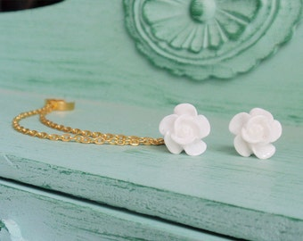 Pure White Blossom Double Gold Chain Ear Cuff Earrings (Pair)