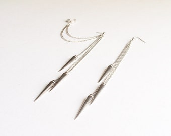 Dangling Silver Spikes Double Pierce Cartilage Earring (Pair)