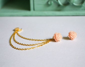 Blush Rose Gold Triple Chain Ear Cuff (Pair)