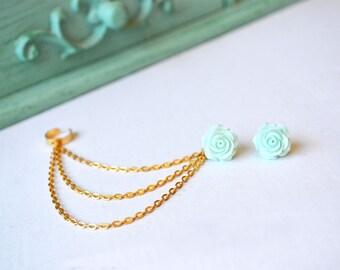 Mint Green Rose Bloom Triple Gold Chain Ear Cuff Earrings (Pair)