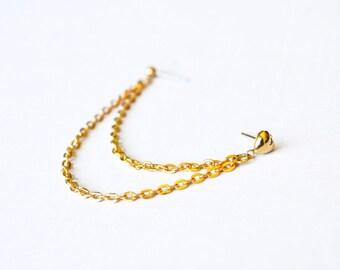 Gold Heart Double Chain Cartilage Earring (Single-Side)