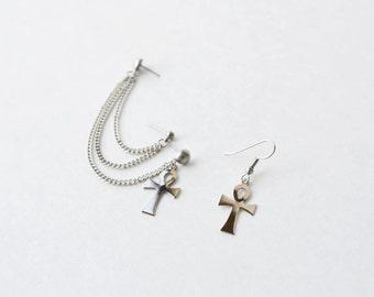 Silver Ankhs Multi-Pierce Cartilage Earrings (Pair)