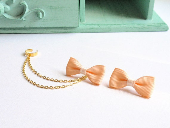 Peach Bow Gold Double Chain Ear Cuff Earrings (Pair)