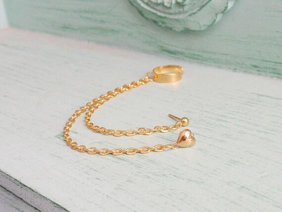 Gold Heart Double Pierce Ear Cuff (Single-Side)