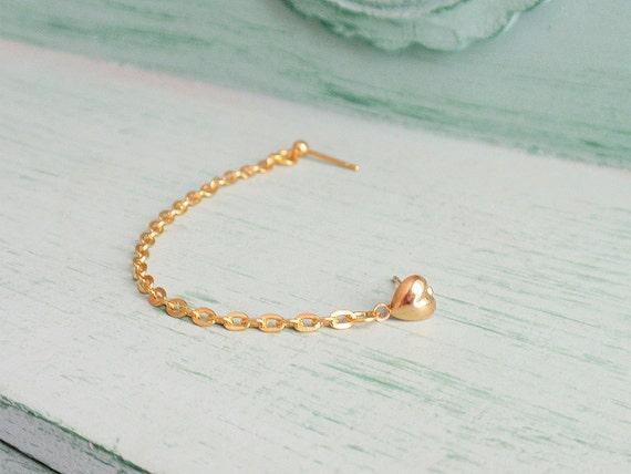 Gold Heart Single Chain Double Pierce Cartilage Earring (Single-Side)