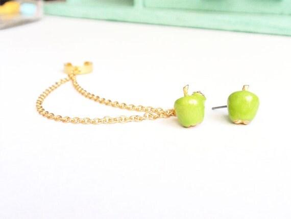 Green Apple Double Gold Chain Ear Cuff (Pair)