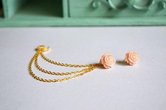 Blush Rose Gold Triple Chain Ear Cuff Earrings (Pair)