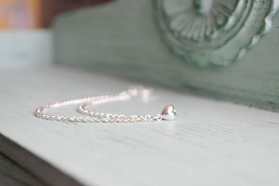 Silver Heart Double Chain Ear Cuff Earring (Single-Side)