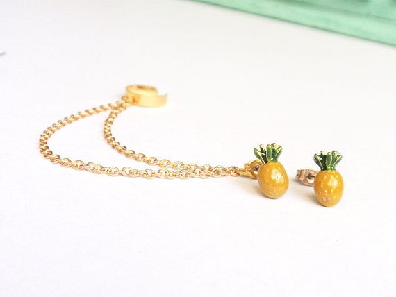 Pineapple Double Gold Chain Ear Cuff (Pair)