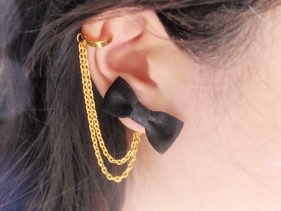 Black Bow Gold Double Chain Ear Cuff (Pair)