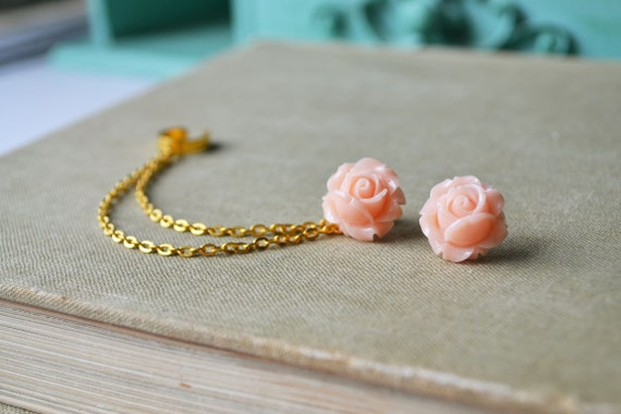 Blush Blooming Rose Double Gold Chain Ear Cuff (Pair)