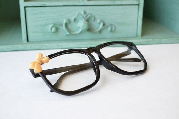 Black Nerdy Costume Frames with Peach Bow - SALE