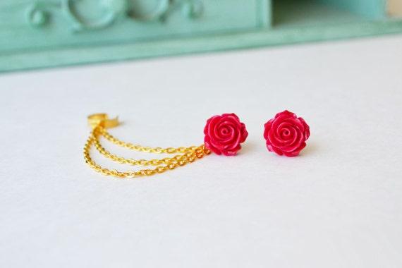 Crimson Rose Bloom Triple Gold Chain Ear Cuff (Pair)