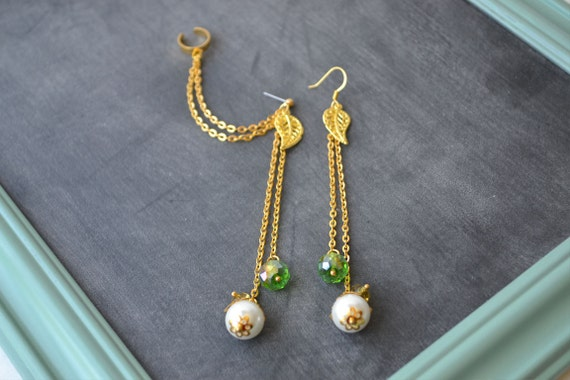 Gold Leaves and Pearls Double Gold Chain Ear Cuff (Pair)