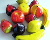banana cabana kitchy paper-mache tropical fruit - dozen - fruit bowl - party - home decor
