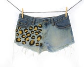 Ombré Cheetah Print Denim Cut Off Shorts