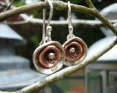 earrings - layered poppy in stamped sterling silver and copper