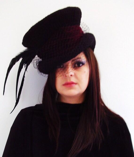 Victorian gothic Mad Hatter top hat burgundy velvet band