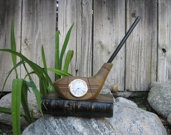 Golf Club desk clock - with pen holder (color black/brown)