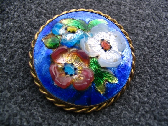 Beautiful French Vintage Flower Enamel Brooch of Emaux Cevennes Signed M L
