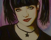 Original NCIS Abby portrait painting Acrylic 8x10inches small detailed
