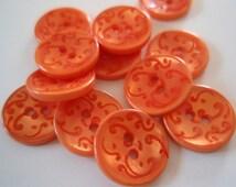 Buttons Orange  Arabesque Two Holes 6pc