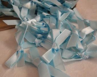 Bow Pale Blue Satin 20pcs