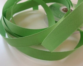 "Twill Tape Cotton 5/8"" width Bright Green 10 Yards"