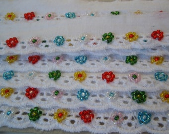 """Trim Eyelet Lace Broderie Anglaise and Beads 1""""width 1Yd"""