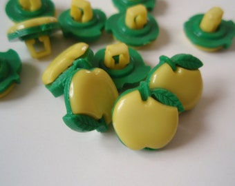 SALE 50% OFF Buttons Apple Yellow Shank set of 24