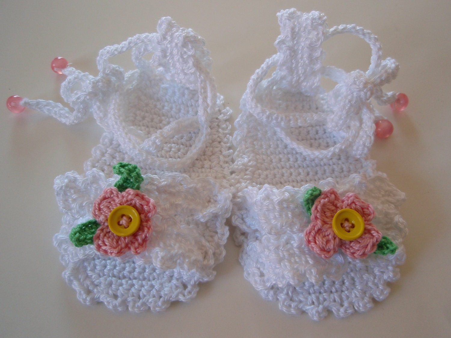 Free Printable Crochet Patterns For Baby Sandals : PDF Pattern Crochet Baby Sandals 3/6 Months Free Shipping