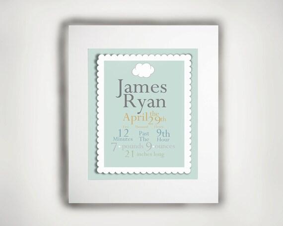 Personalized Baby Boy 8x10 Birth Print - Nursery Art -Typography