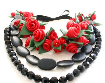 Red Rose Necklace, Statement Necklace