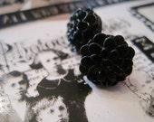 Black Chrysanthemum Flower Earrings, Halloween Black Mum Earrings, Black Flower Earrings, Gift under 10
