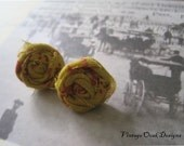 Rosette Earrings, Rosette Studs, Mustard Rosette Earrings,Fabric Earrings, Fabric Jewelry, Clip On Jewelry, Fall Earrings, Textile Earrings