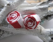 Peppermint  Holiday Earrings -- Peppermint Twist Earrings in Christmas Red and Green OrginalOOAK Handmade