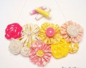 Strawberry Lemonade Bib Necklace  - Sunny Pink & Yellow fabrics mixed with Soft Creamy Linen Spring Fashion 2012